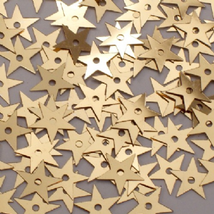 10mm Metallic Gold Star Sequins x 20g